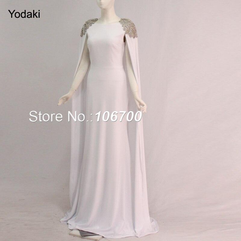 Mode Avondjurken.Echte Foto Cape Wrap Arabische Mode Avondjurken Hand Maken Crystal