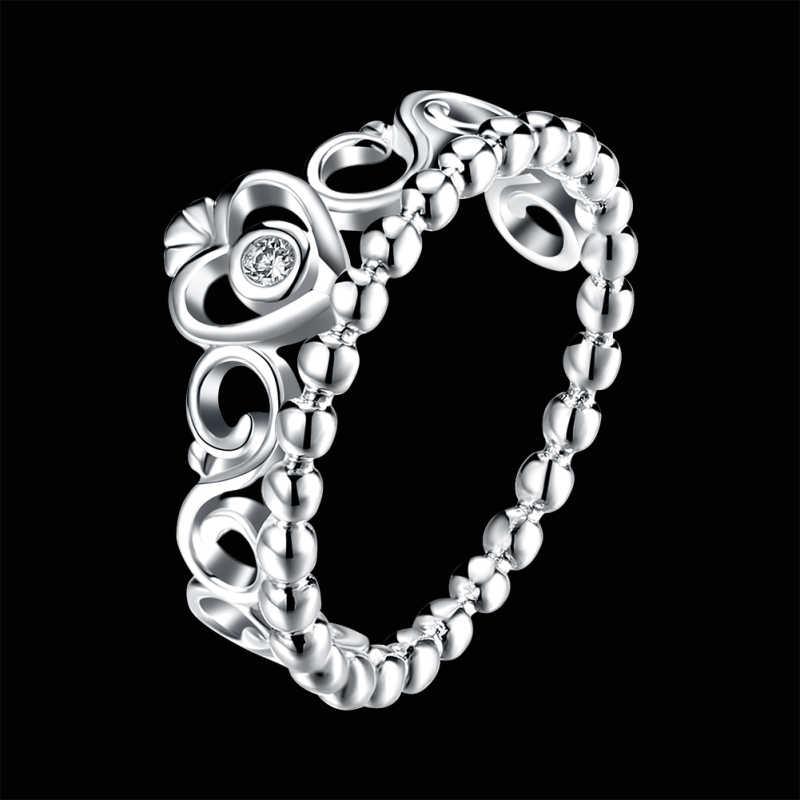 Garilina Trendy mode zilveren ring kroon vormige witte zirconia trouwring R2235