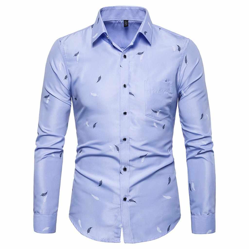 JAYCOSIN シャツ男性カミーサ masculina 夏カジュアルシャツファッションプリント長袖スリムビジネスドレスシャツ 19JUN18 トップス