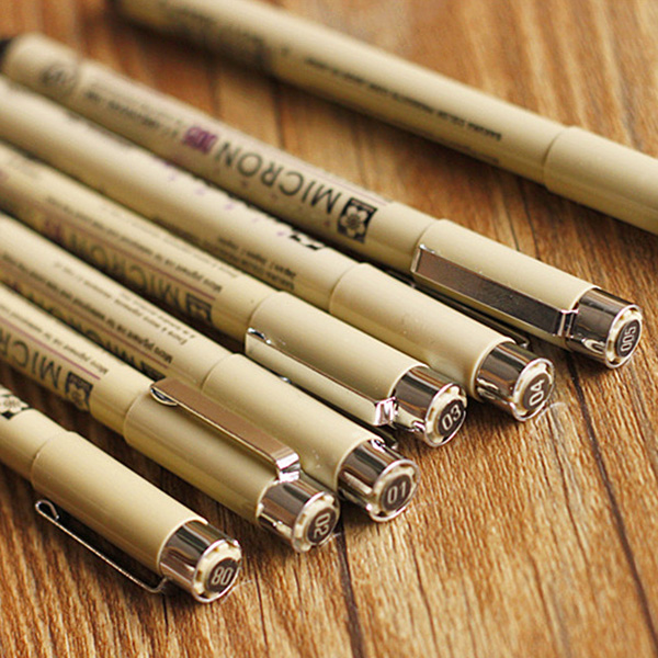 7pcs/set Sakura Pigma Micron Pen Needle drawing Pen Lot 005 01 02 03 04 05 08 Art Markers marking tools
