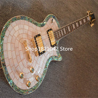 Limited Edition Custom Shop LP Electric Guitar Abalone White Pearl Inlaid Mahogany Body Electrica Guitarra China