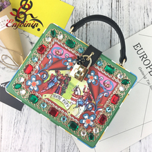 New fashion oil painting pattern diamond-studded box shape handbag ladies shoulder bag totes women's crossbody messenger bag