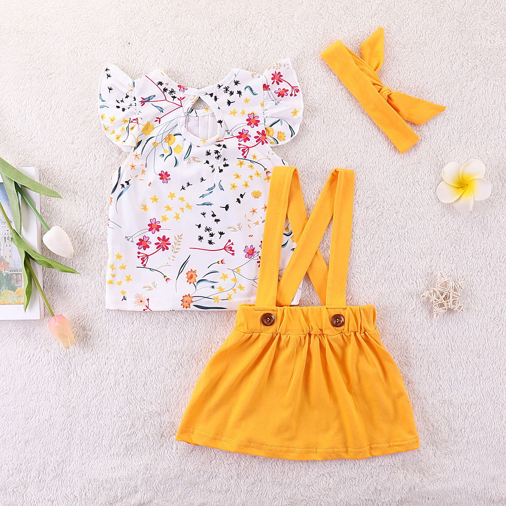 HTB1unDOMgHqK1RjSZFEq6AGMXXaL Humor Bear Summer Baby Girls Summer New Clothes Suit Fly Sleeve T-shirt s+Floral Skirt+Headband Kids Party Princess Clothing