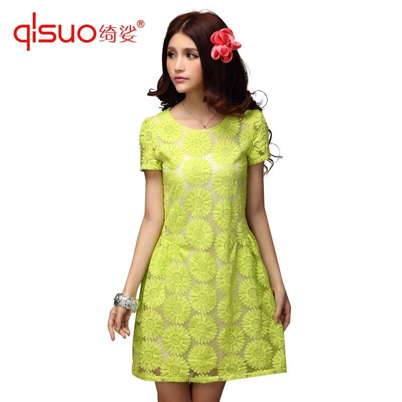 High quality plus size clothing fashion sunflower cutout flower short-sleeve dress crochet dress