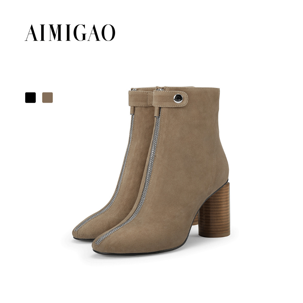 AIMIGAO suede leather fashion ankle boots para mulheres round toe Thick heel zipper buckle shoes woman 2017 autumn winter new 2017 autumn new suede short boots thick bottom round toe solid color ankle boots women fashion casual shoes