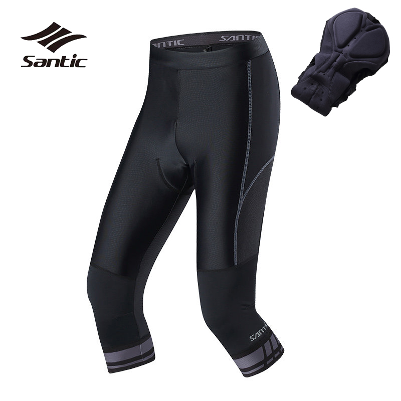 Santic Cycling Padded Shorts Men Quick Dry Bicycle Shorts 3 4 Breathable Road Mountain Bike Padded