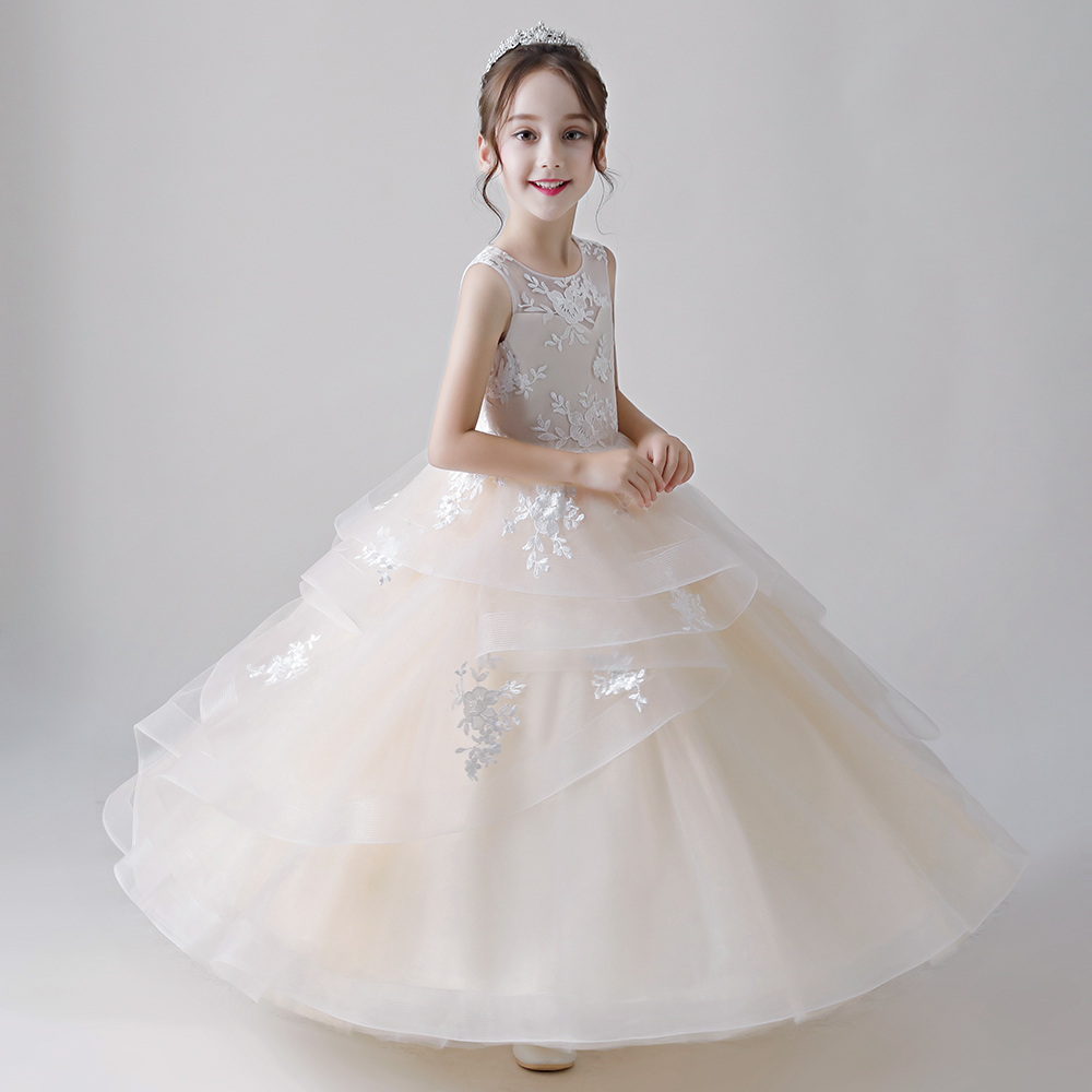 Champagne Embroidery   Flowers     Girl     Dress   fpr Wedding Ball Gown 2018 Long First Communion   Dresses   Little   Girl