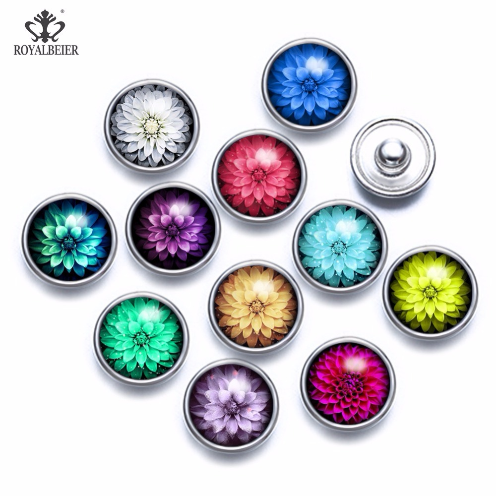 12pcs/lot Mixed Patterns Colorful Flowers 12mm Glass Snap Button Jewelry Faceted Glass Snap Fit Snap Earrings Bracelet Necklace image