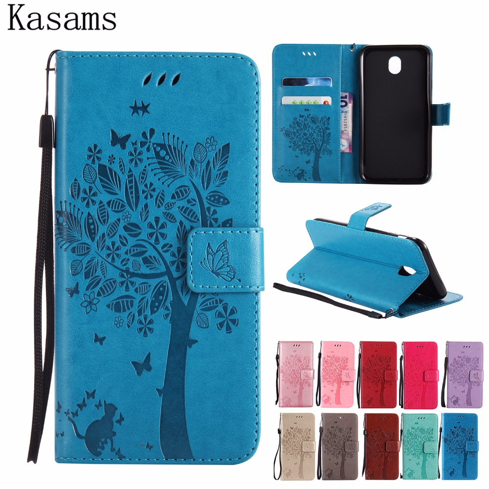 <font><b>3D</b></font> Tree Cat For <font><b>Samsung</b></font> J3 <font><b>J5</b></font> J7 2017 EU version Pro SM-J330 J530 J730 Phone Case Flip PU Leather Cover Bookcase Fundas Coque image