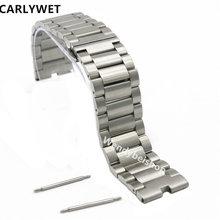 CARLYWET 22mm Argent 316L Bracelet En Acier Montre-Bracelet de Courroie De Bande ceinture Double Poussoir Fermoir Pour Moto Motorola 360 Smart Watch 1gen