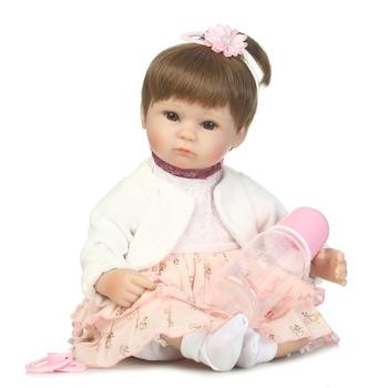 40cm Soft Reborn Baby Doll Cotton Body Silicone Vinyl Real Gentle Touch Cute Hair Style Toys for Children Birthday Gifts