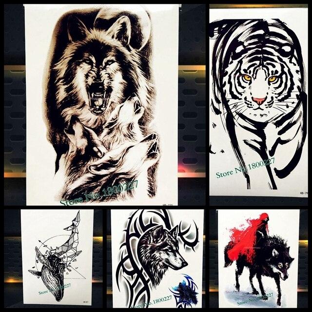 1 Unid 3d Lobo Indio Totem Flash Temporal Tatuaje Hombres Negro