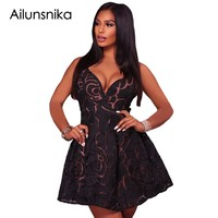 Ailunsnika Short Party Dresses Summer Women V Neck Black Lace Illusion Sexy Backless A Line Mini