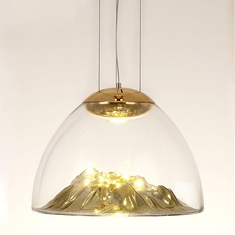 Modern LED Pendant Lamp Iceberg Pendant Light Gold Copper Suspension Lamp Silver Glass Lava Irregular Hang for Living Room F006