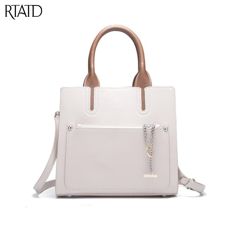 RTATD New Simple Split Leather Women Handbags Fashion Chain Design Lady Shoulder Bag For Female Tote