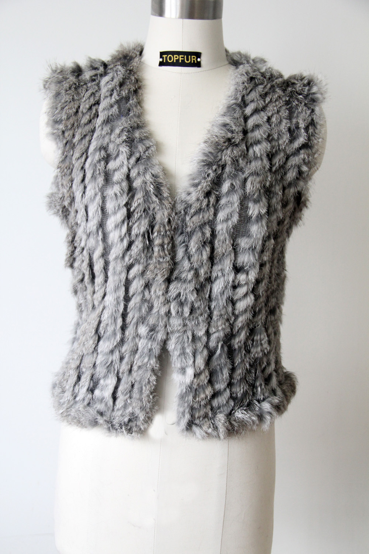 Women's Genuine Knitted Rabbit Fur Vest Natural Rabbit Fur Waistcoats Super Low Price Free Shipping DFP312