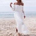 Otoño 2017 de las mujeres elegantes de largo maxi dress de señora long flare manga de la Raya Vertical Del Hombro Splice Beach Party Boho Túnica Vestido Vestidos