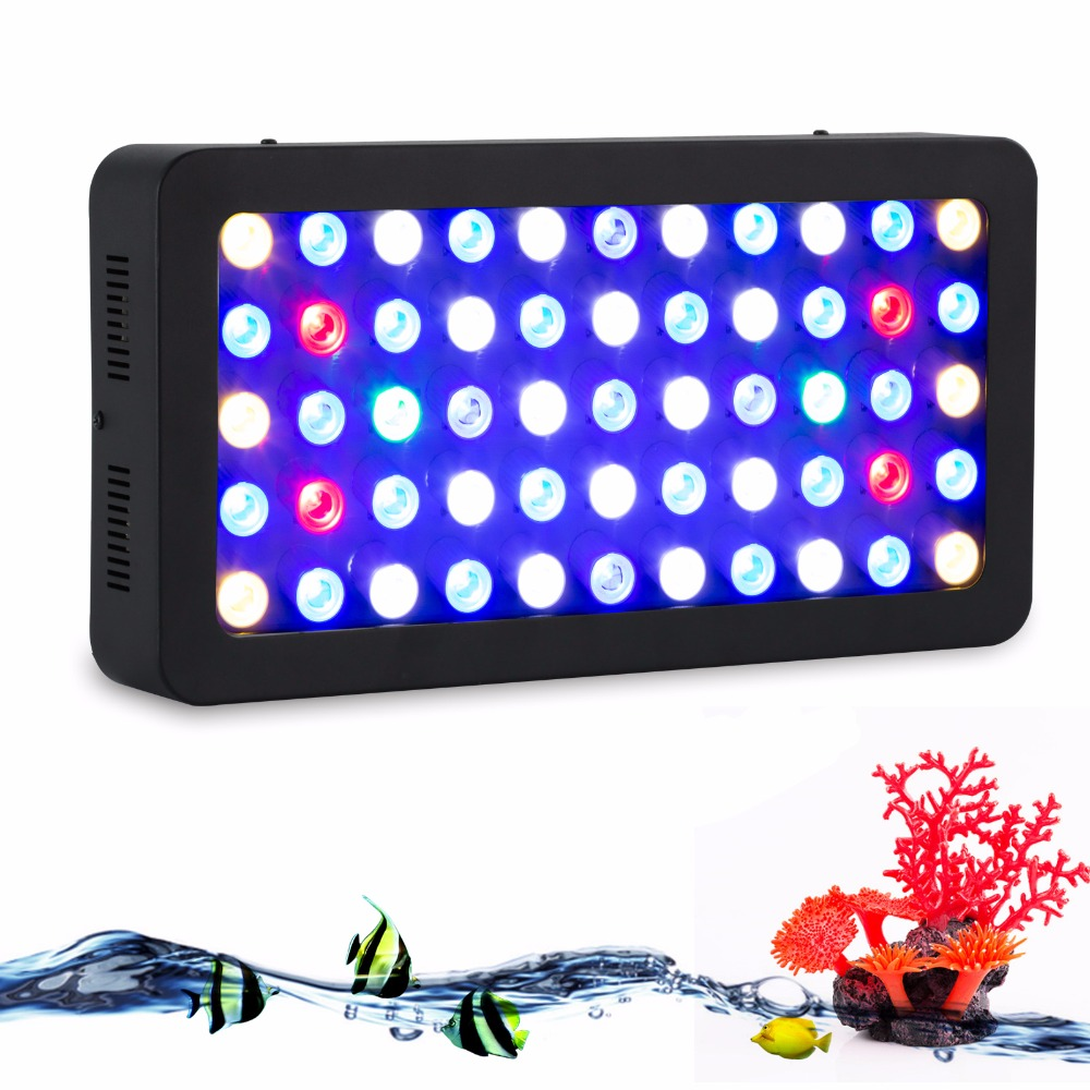 165W LED Aquarium Light high quality lens Marine led lighting with Dimmable for Fish coral lamp Full Spectrum with UV lighting 100w lumia 5 1 diy aquarium led light sunrise sunset dimmable led aquarium light 100w remote auto dim coral reef led lighting
