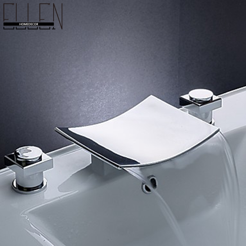 ФОТО Bathroom Waterfall Faucet Chrome Finish Basin Sink Double Handle With Widespread Spout