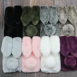 Rabbit Fur Cases For iphone 7 8 Plus X 6 6s XS Max XR 5 5S SE 55S Oneplus 5T 5 6T 6 iPhone11 Pro Max Oneplus 7T Soft Cover Case(China)