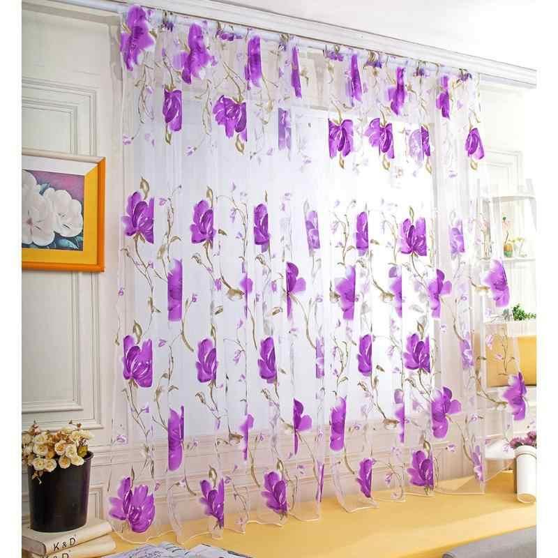 Hot Fiore Tessili per la casa Di Lusso Ricamato 3D Finestra Tende In Tessuto di Tulle Sheer Tende Per La cucina Camera Da Letto Soggiorno
