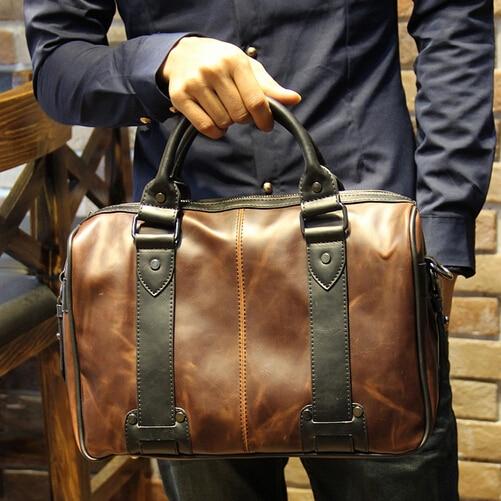 Us 79 98 New Brown Men S Pu Leather Bag Designer Brand Handbags Fashion Male Business Portfolios Work Shoulder Messenger Bags B00016 In