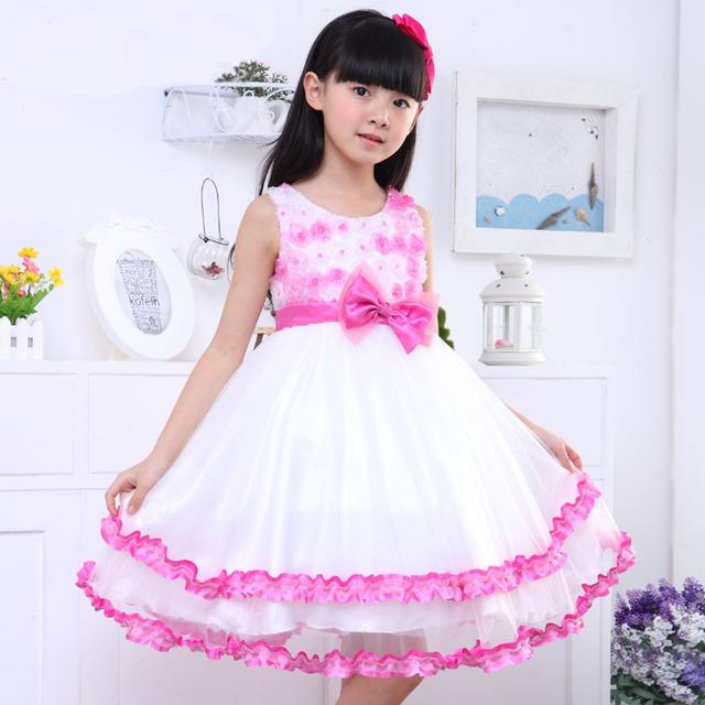 2017 Nova Moda Verão Crianças Roupas Casuais Crianças Florais Vestidos De Princesa Das Meninas Sem Mangas vestido Vestido de Baile