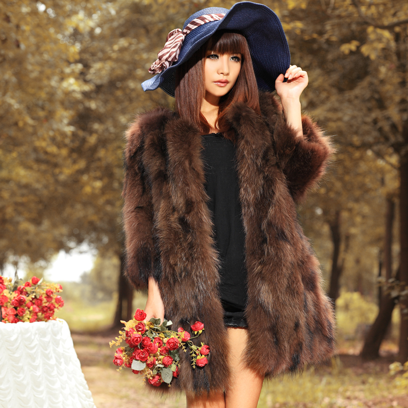 2013 New Fashion Women Medium long Slim Fur Coat Winter Fur ...