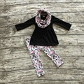 2016 new halloween FALL/Winter baby kids foral OUTFITS 3 pieces scarf black top Aztec pant sets girls boutique clothes sets