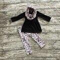 2016 nueva halloween OTOÑO/Invierno bebé niños foral TRAJES pant establece girls boutique de 3 unidades de la bufanda Azteca negro superior sistemas de la ropa