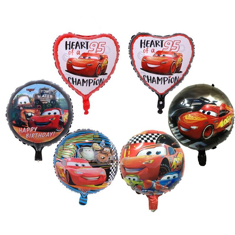 5pcs 18inch Cartoon Car Foil Helium Balloons 18 inch round car balloon Dot latex baby kid toys Birthday Party Decor Supplies Red