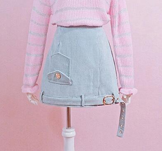 1 шт. Девушки Симпатичные Синий/Розовый Вельвет Высокая Талия Короткая Юбка
