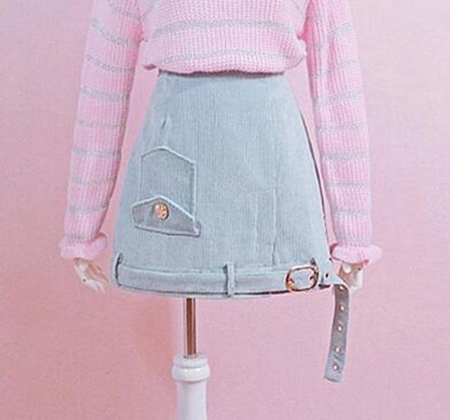 1 unid Niñas Lindo Azul/Rosa de Pana de Cintura Alta Falda Corta