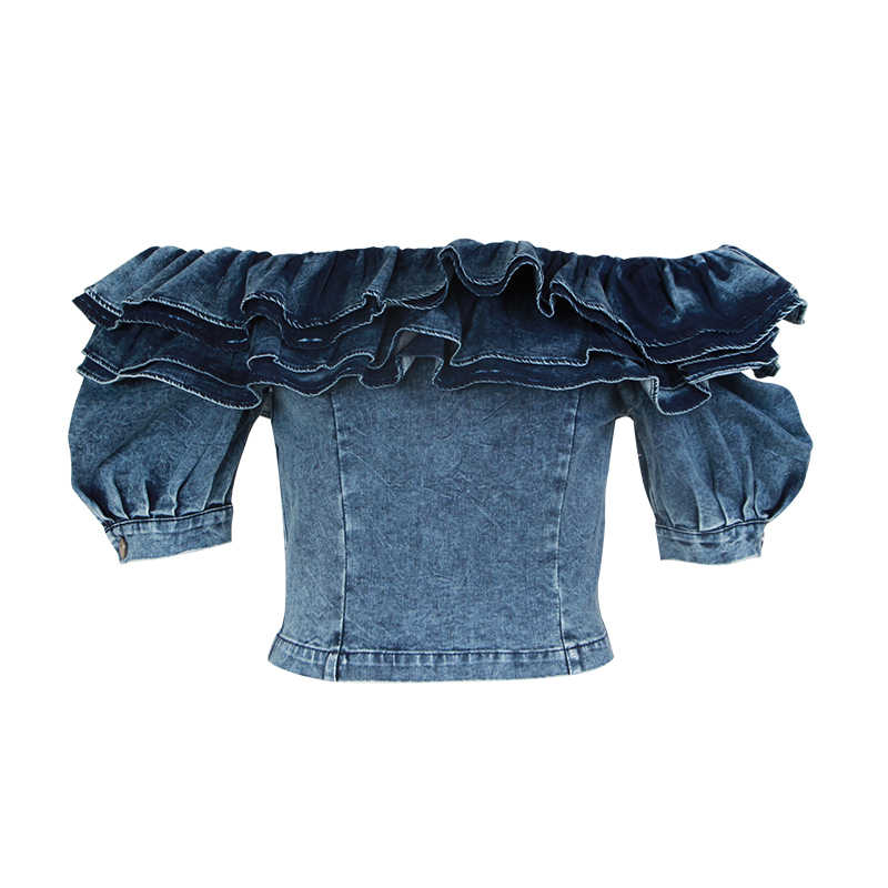TWOTWINSTLE フリルデニムクロップトップス女性パフスリーブスクエア襟セクシーなシャツブラウス女性の夏 2019 ファッション新