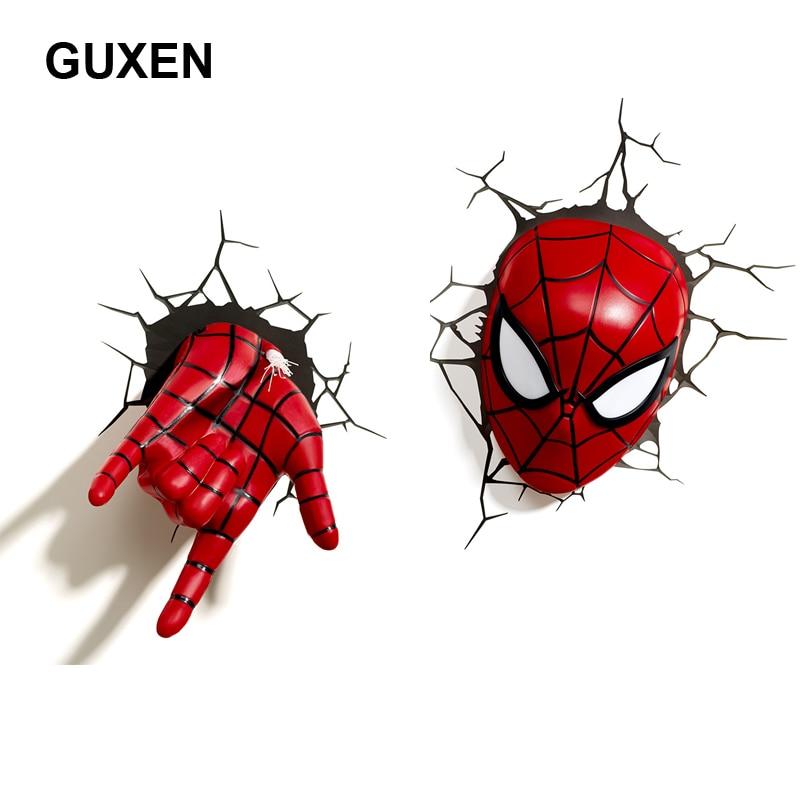 GUXEN 3D Marvel Spider Man Hand & Head Shaped Creative Sticker Super Hero Wall Lamp night light For Kids Child Bedroom Lighting