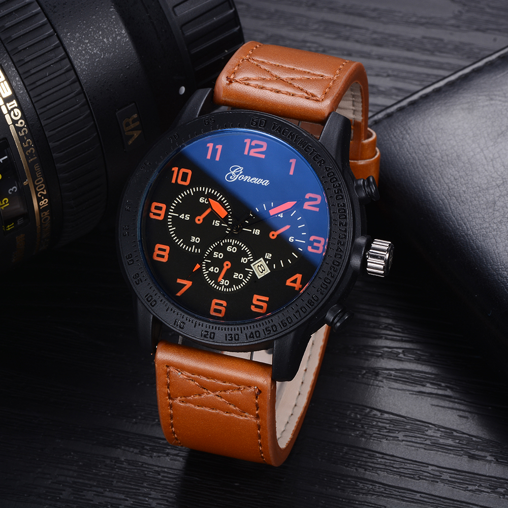Gonewa Men Watches Top Brand Luxury Leather Strap Quartz Wristwatch Fashion Casual Sport Clock Waterproof Relogio Watch GON018 цена и фото