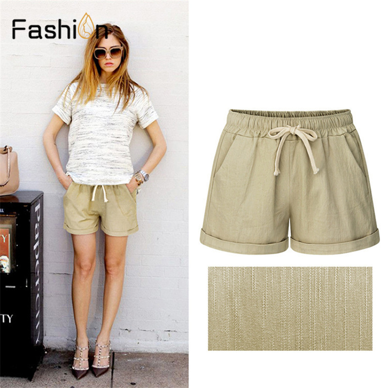 Plus Size 6XL Summer Style Shorts Women Candy Color Elastic Waist Shorts With Belt Women Cotton Casual Shorts Harajuku