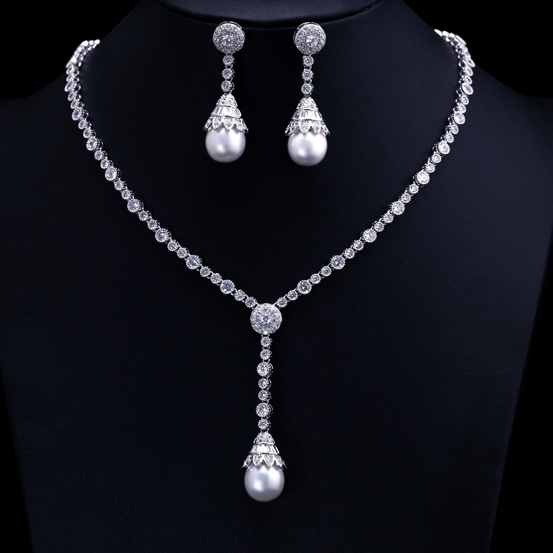 Luxury white gold-color Elegant Shape Bridal Pearl and Cubic Zirconia Necklace Earrings Sets Big Wedding Jewelry Sets For Women delicate maple leaf shape rhinestone and faux pearl necklace and earrings for women