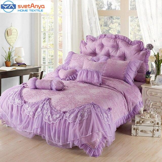 svetanya lace bedding set queen king size bedskirt duvet cover pillowcase 4pc luxury wedding bedcover sets