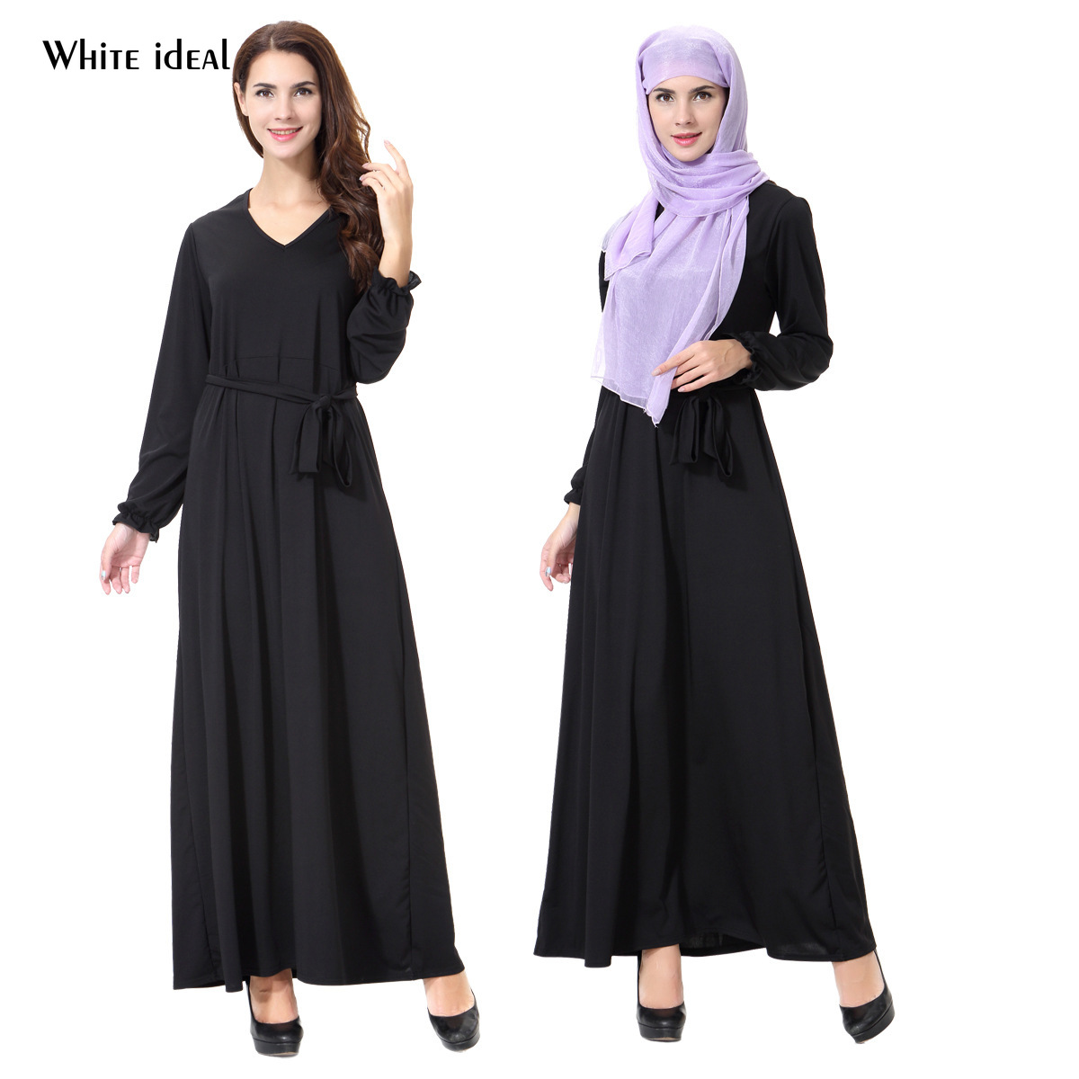 Muslim Black Dress Evening Gowns for Women Elegant Black Gown Long Sleeve Evening Dress Women Dress Evening Party