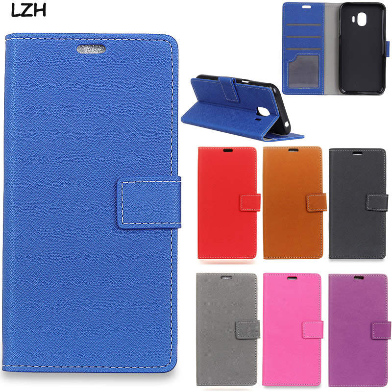 Cross Pattern Business PU Leather Magnetic Snap Wallet Card Money Slots Flip Cover Case for Samsung Galaxy J2 Pro 2018
