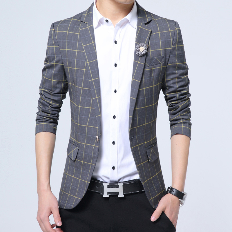 цена Vetement Homme 2018 Fashion Jacket Suit Men Blazer Masculino England Plaid Veste Homme Costume Silm Fit Party Blazers Men Suits