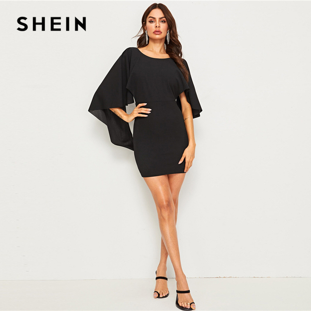 SHEIN Sexy Open Back Cloak Sleeve Summer Mini Dress Women Glamorous Round Neck Slim Fit Solid Night Out Party Dress 5