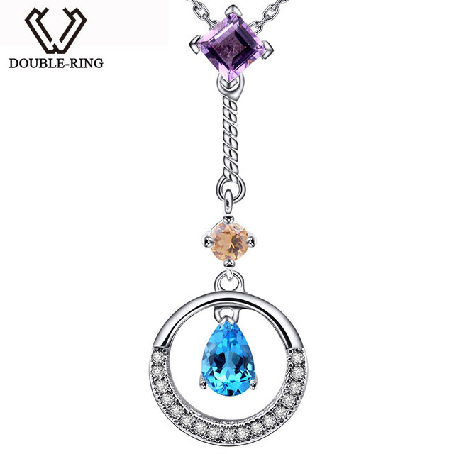 DOUBLE-R Amethyst Pendants Women Citrine 925 Sterling Silver Round Necklaces & Pendants Valentine'S Day Fine Jewelry CAP02425A