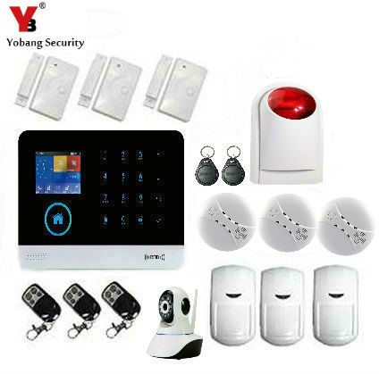 Yobang Security WIFI Home Security Urglar Alarm Systerm Kit IOS Android APP Control Touch Keypad GPRS SMS RFID arm disarm smartyib whole home alarm systerm business security alert with ios