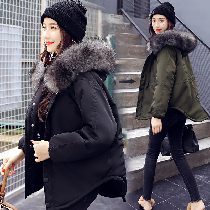 2018 Fashion Hooded Short Women Winter Jacket with Fur Collar Warm Thick   Parka   Cotton Padded Female Casual Womens Coat WLD262