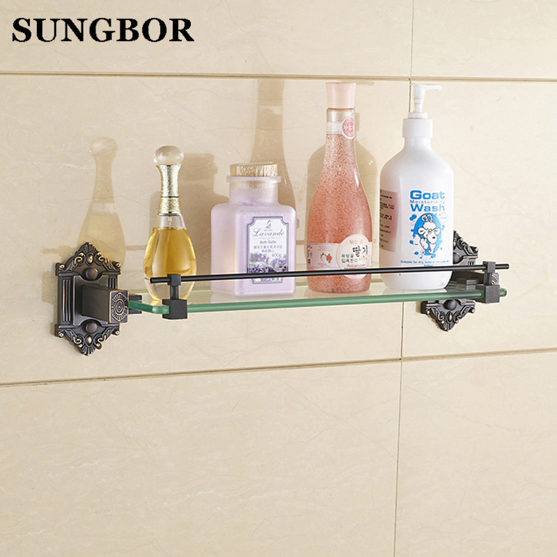 Modern Black Oil Rubbed Bronze Bathroom Shelf with Glass Wall Mounted Bathroom Accessories HY-93813F bathroom accessories black oil rubbed bronze wall mounted toothbrush holders band ceramic cups wba475