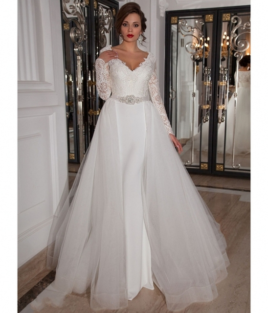 Over The Top Wedding Gowns: Detachable Skirt Long Sleeve Lace Wedding Dress 2016