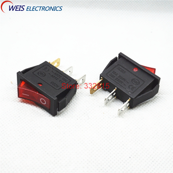 10PCS KCD3 ultrathin rocker switch with red light 2 throw 15A 250V 800W I/O power switches for electric cokers Free shipping D. image