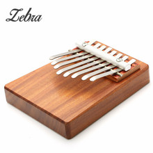 Zebra 12x10x3.5cm Portable Rosewood Steel Bar Unique 8 Key Finger Piano Mbira Kalimba Thumb Piano Idea Gift